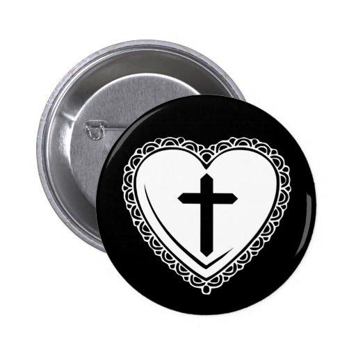 Pin gótico del corazón y de la cruz (negro y blanc