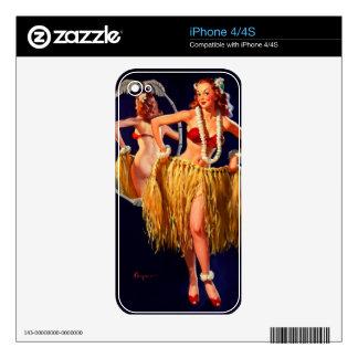 Pin hawaiano de Gil Elvgren Hula del vintage ENCIM Calcomanías Para El iPhone 4S