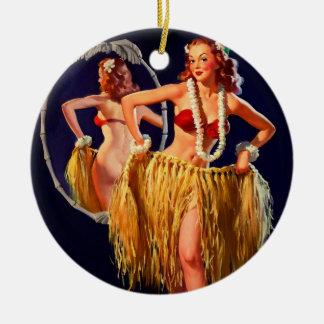 Pin hawaiano de Gil Elvgren Hula del vintage ENCIM Ornamento Para Reyes Magos