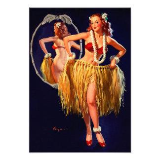 Pin hawaiano de Gil Elvgren Hula del vintage ENCIM Comunicados Personalizados