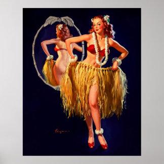 Pin hawaiano de Gil Elvgren Hula del vintage ENCIM Póster