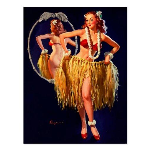 Pin hawaiano de Gil Elvgren Hula del vintage Tarjeta Postal