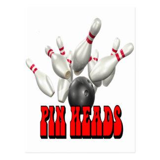 Pin Heads Bowling Postcard
