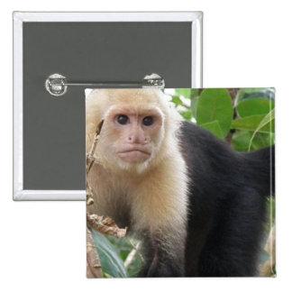Pin hecho frente blanco del cuadrado del mono de C