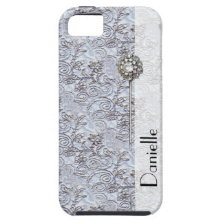 Pin impreso damasco parisiense azul elegante del v iPhone 5 Case-Mate cárcasa