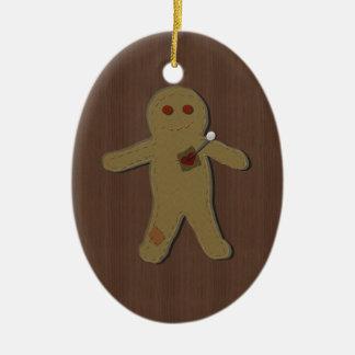 Pin la maldición en el ornamento de la muñeca del adorno navideño ovalado de cerámica