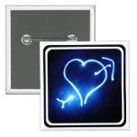 Pin ligero azul del corazón