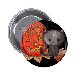 Pin lindo del gato de Halloween por Molly Harrison Pin Redondo 5 Cm