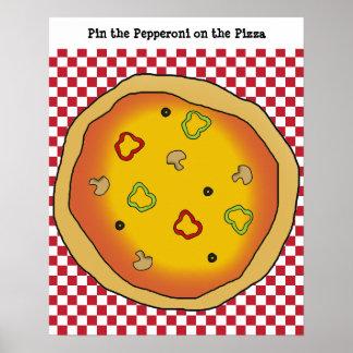 Pin los salchichones en el juego de la pizza póster