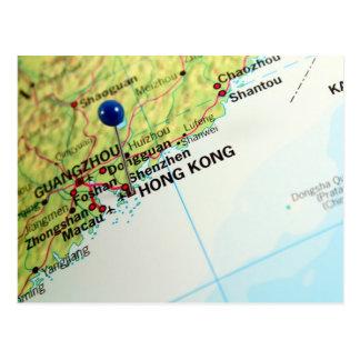 Pin Map of Hong Kong Postcard