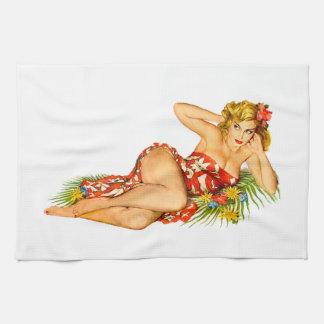 Pin modelo encima del chica toalla