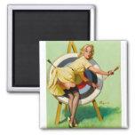 Pin modelo retro de Gil Elvgren del arte del vinta Imán Cuadrado