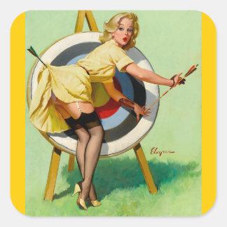 Pin modelo retro de Gil Elvgren del arte del vinta Colcomanias Cuadradas