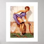Pin modelo retro de Gil Elvgren del vintage encima Poster