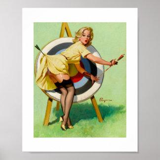 Pin modelo retro de Gil Elvgren del vintage encima Póster