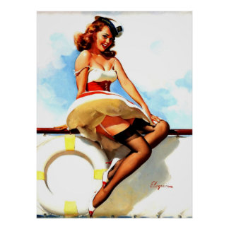 Pin náutico del marinero de Gil Elvgren del vintag Posters