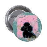 Pin negro del botón del arte de los colibríes del