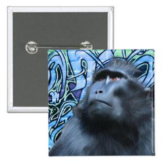Pin negro del Macaque Pin Cuadrada 5 Cm