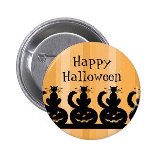 Pin negro y anaranjado del feliz Halloween Pin Redondo 5 Cm