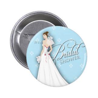 Pin nupcial de la ducha del vintage azul y blanco