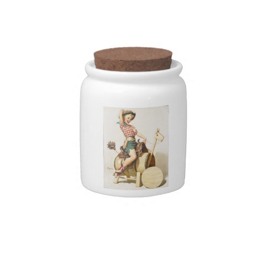 Pin occidental bonito que se sienta encima del art jarra para caramelo