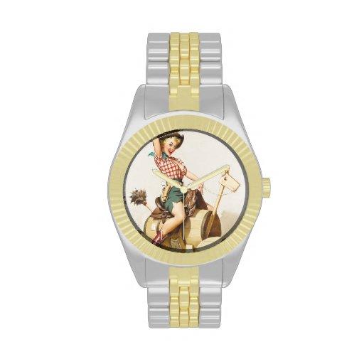 Pin occidental bonito que se sienta encima del art relojes de pulsera