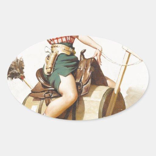 Pin occidental bonito que se sienta encima del calcomania de óval