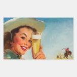 Pin occidental de la cerveza de Gil Elvgren del Rectangular Pegatinas