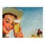 Pin occidental de la cerveza de Gil Elvgren del vi Tarjetas Postales