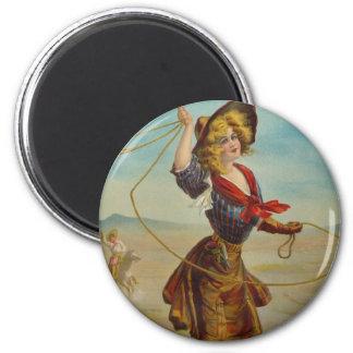 Pin occidental del vintage de la vaquera bonita de imán redondo 5 cm