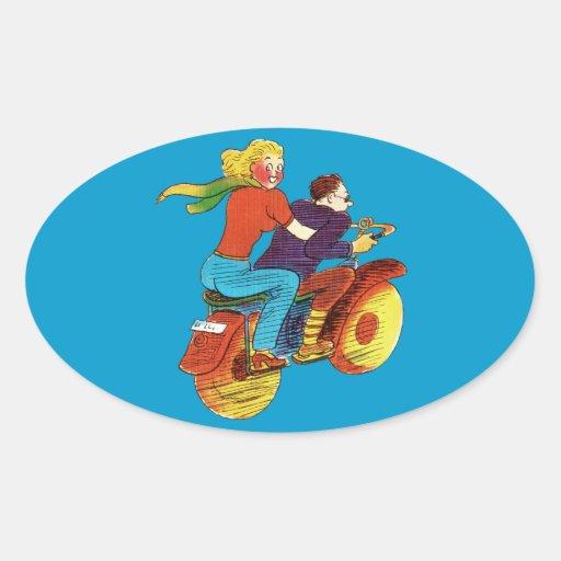 Pin-Para arriba de la motocicleta Pegatina Ovalada