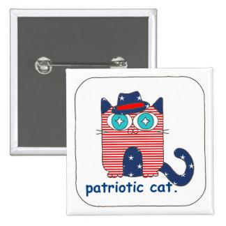 Pin patriótico del botón del gato