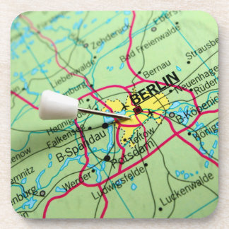 Pin placed on map in Berlin, Germany Beverage Coasters