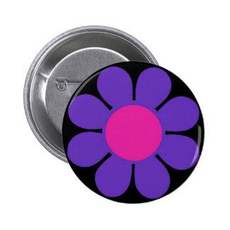 Pin púrpura del flower power de los años 60