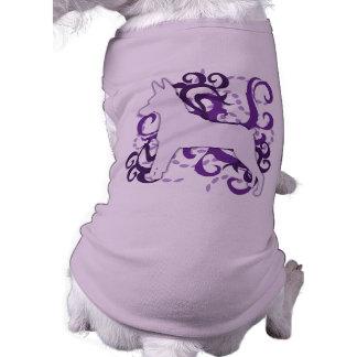 Pin púrpura del minuto del remolino camisetas de perro