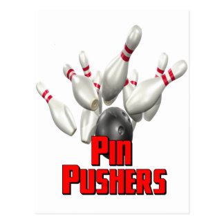 Pin Pushers Bowling Postcard