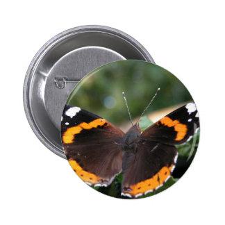 Pin redondo del almirante rojo mariposa