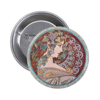 Pin redondo del botón de Nouveau del arte de la hi