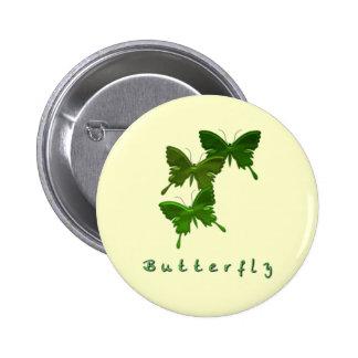 Pin redondo del trío verde de la mariposa