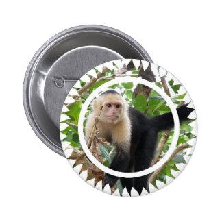 Pin redondo hecho frente blanco del mono de Capucc