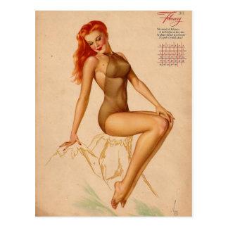 Pin retro de Alberto Vargas del vintage encima del Tarjeta Postal