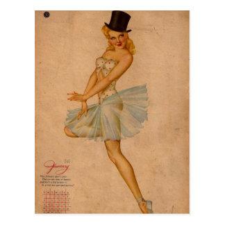 Pin retro de Alberto Vargas del vintage encima del Postal