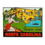 Pin retro de Carolina del Norte de la etiqueta del Postales