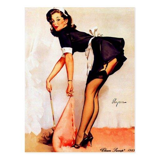 Pin retro de Gil Elvgren del vintage encima de Postales