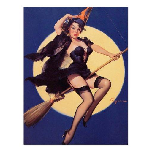Pin retro de Gil Elvgren del vintage encima de tar Tarjeta Postal