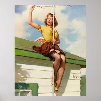 Pin retro de Gil Elvgren del vintage encima del ch Poster