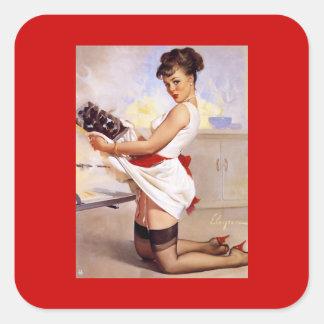 Pin retro de Gil Elvgren del vintage encima del ch Calcomania Cuadradas