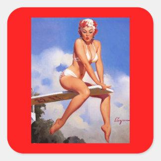Pin retro de Gil Elvgren del vintage encima del ch Calcomanías Cuadradass