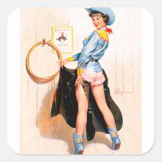 Pin retro de Gil Elvgren del vintage encima del ch Pegatinas Cuadradases