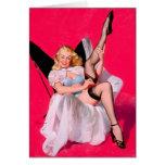 Pin retro de Gil Elvgren del vintage encima del ch Tarjeton